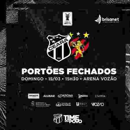 Ceará x Sport pela Copa do Nordeste será com portões fechados  - Reproduão