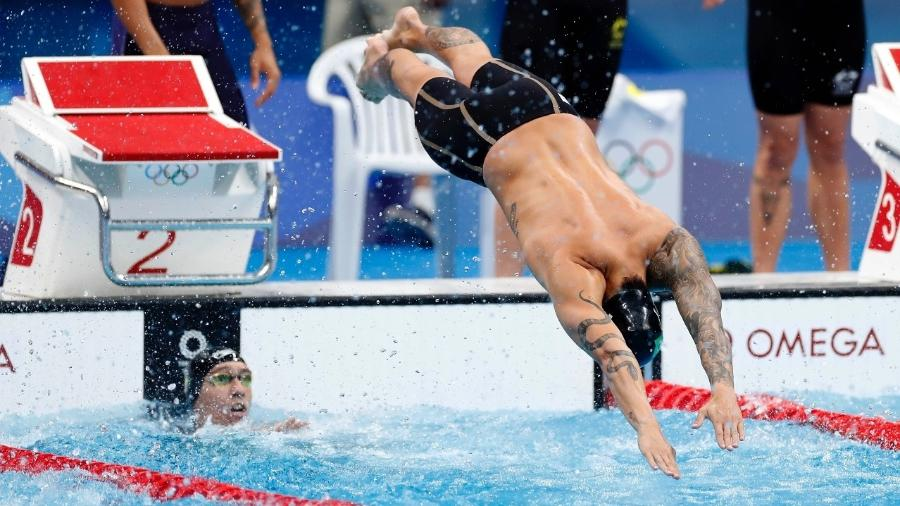 Revezamento 4x100 livre do Brasil terminou em último lugar na final das Olimpíadas de Tóquio - Satiro Sodré/CBDA