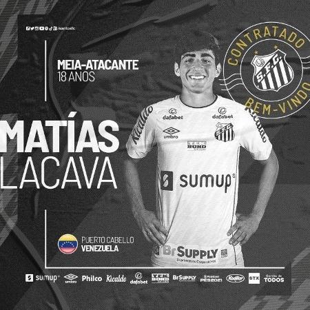 Matías Lacava é anunciado como novo reforço do Santos  - Reprodução/Santos FC
