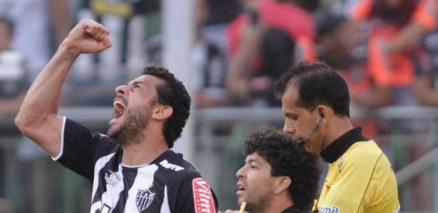Fred comemora gol marcado contra URT, pelo Campeonato Mineiro