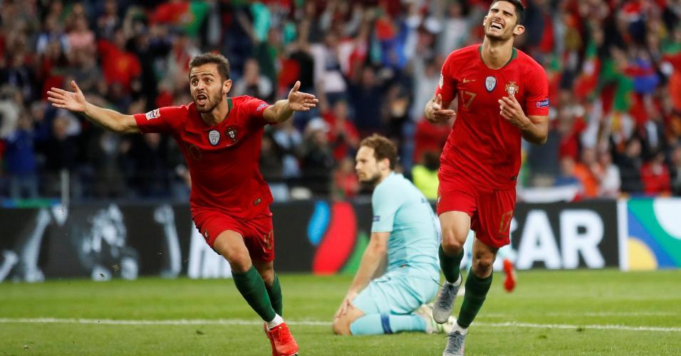 Gonçalo Guedes comemora gol de Portugal na final da Liga das Nações