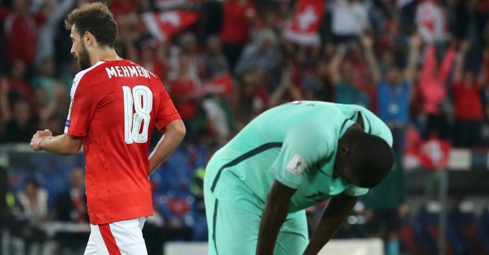 William Carvalho lamenta após Portugal sofrer o segundo gol da Suíça