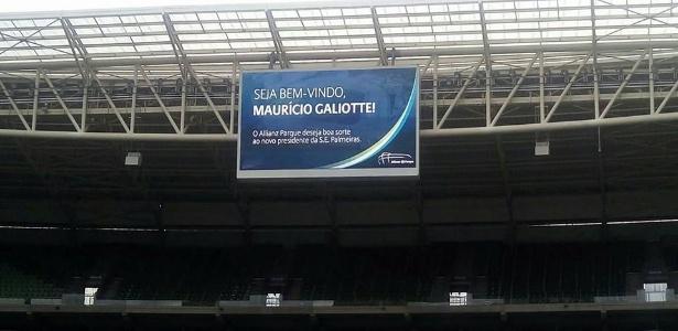 Placar do Allianz Parque desejou boa sorte para Maurício Galiotte