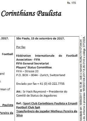 Corinthians deu entrada em processo na última sexta para pedir dinheiro do Empoli