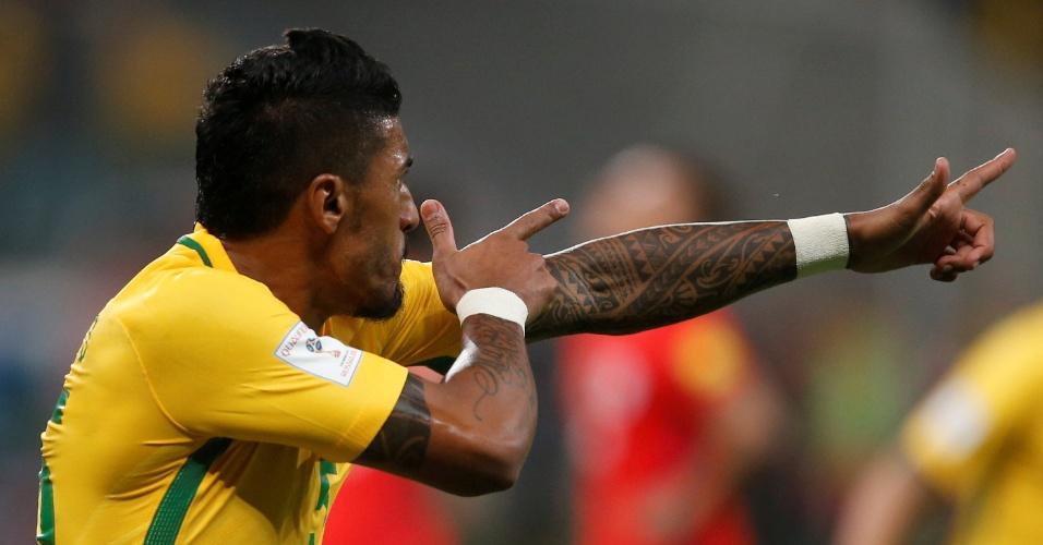 Paulinho marcou contra o Chile no Allianz Parque