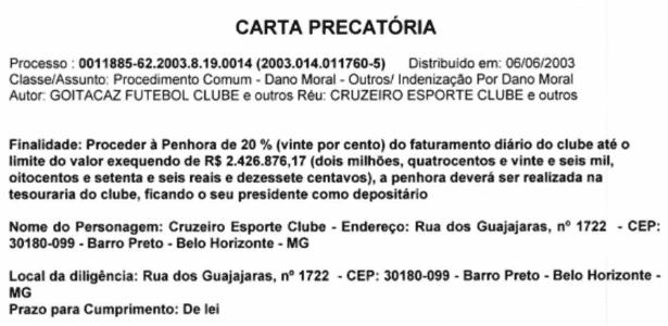 Carta Precatória - Cruzeiro - Divulgação - Divulgação