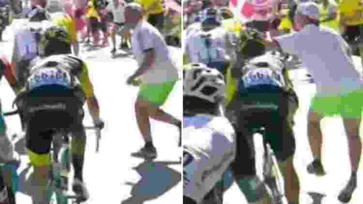 Torcedor tenta agredir ciclista britânico em epata da Volta da França - Reprodução - Reprodução