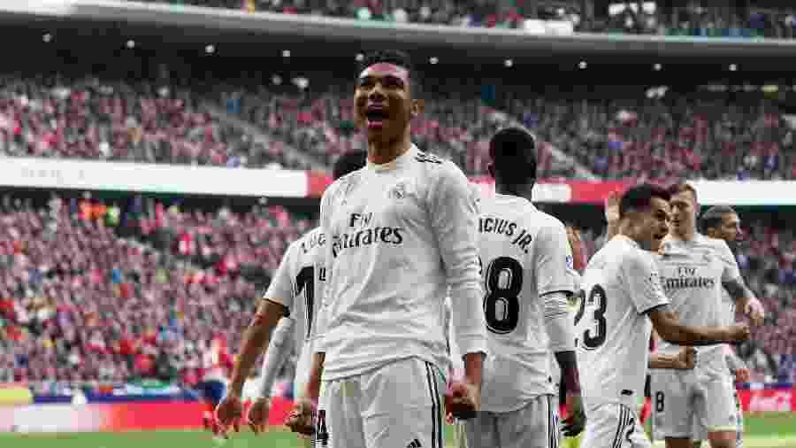 Casemiro comemora primeiro gol do Real Madrid sobre o Atlético - Susana Vera/Reuters