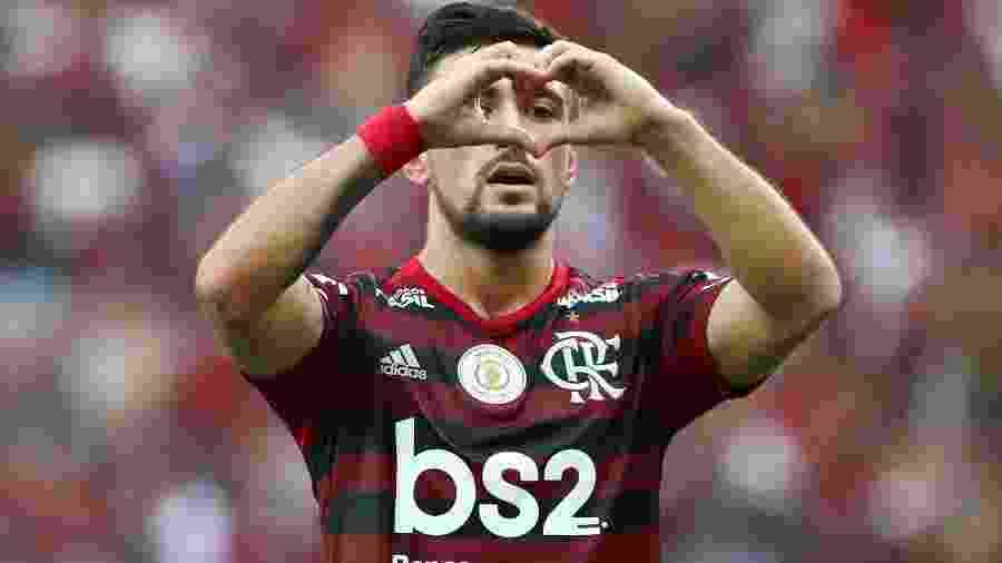 Arrascaeta comemora gol do Flamengo contra o Palmeiras: uruguaio foi convocado - REUTERS/Pilar Olivares