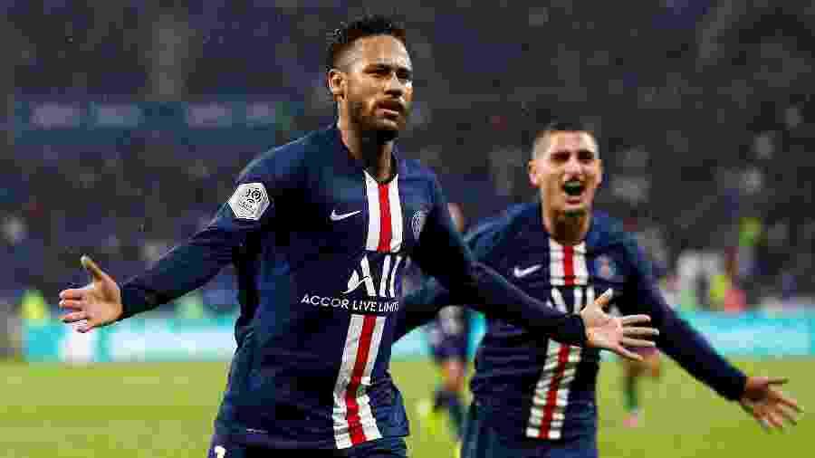 Neymar comemora gol do PSG sobre o Lyon - Emmanuel Foudrot/Reuters