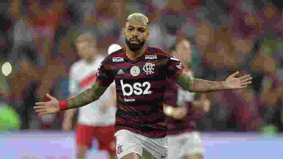 Gabigol comemora gol do Flamengo contra o Internacional - Thiago Ribeiro/AGIF