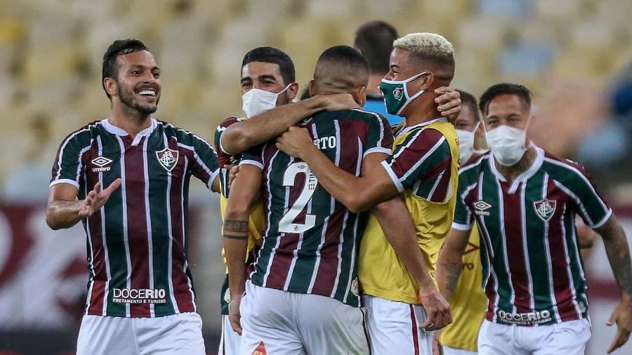 Jogadores do Fluminense comemoram gol de Gilberto sobre o Flamengo na final da Taça Rio - LUCAS MERÇON / FLUMINENSE F.C.