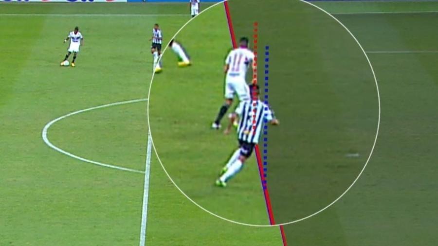 O árbitro Jean Pierre Gonçalves Lima invalidou o gol do São Paulo contra o Atlético-MG por suposta posição de impedimento do atacante Luciano - Reprodução/SporTV