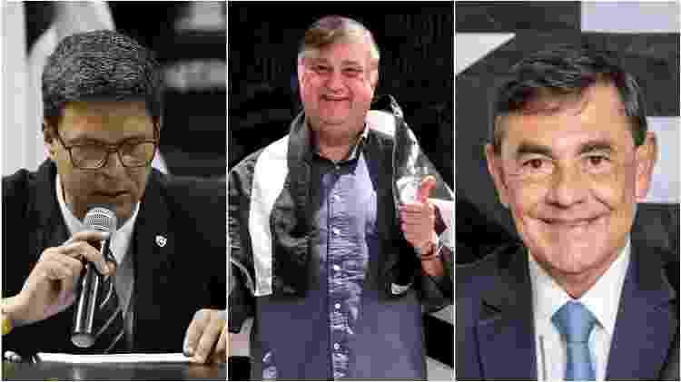 Alessandro Leite, Durcesio Mello e Walmer Machado são os candidatos à presidência do Botafogo - Fotos de Vitor Silva/Botafogo / Divulgação / Divulgação - Fotos de Vitor Silva/Botafogo / Divulgação / Divulgação