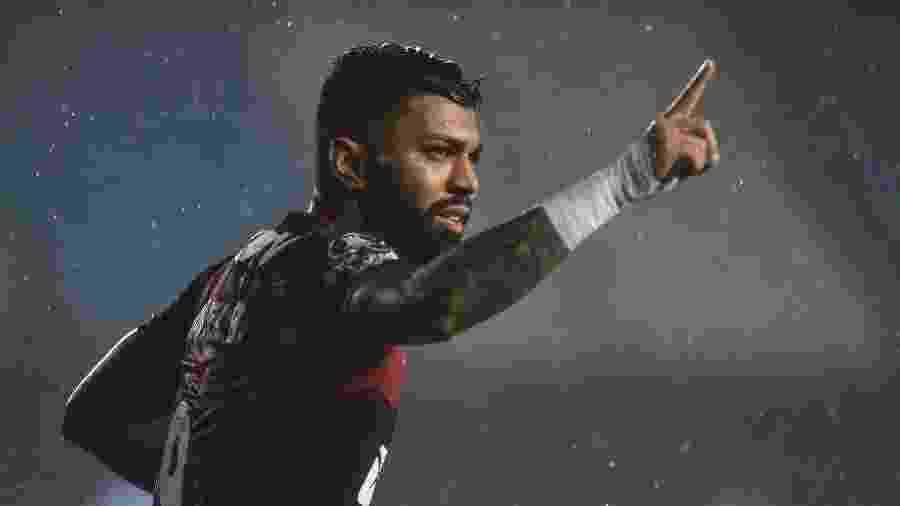 Gabigol comemora gol marcado contra o Racing na Libertadores - MARCELO ENDELLI/AFP