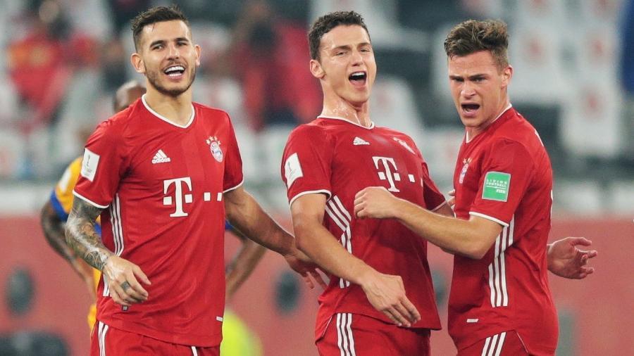 Jogadores do Bayern comemoram gol do título Mundial - MOHAMMED DABBOUS/REUTERS