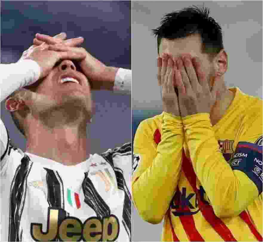 Cristiano Ronaldo e Messi são eliminados da Champions League nas oitavas de final - Jonathan Moscrop/Getty Images e REUTERS/Gonzalo Fuentes