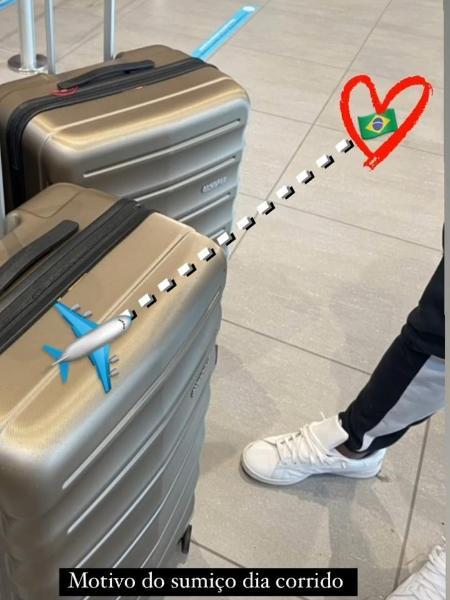 Esposa de Thiago Mendes posta malas prontas para viagem ao Brasil - Reprodução/Instagram