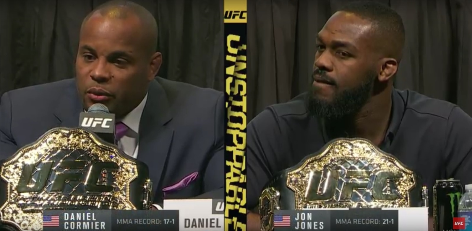 Daniel Cormier e Jon Jones, durante evento do UFC