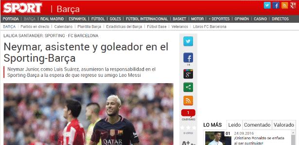 Neymar 2  - Reprodução / Sport - Reprodução / Sport