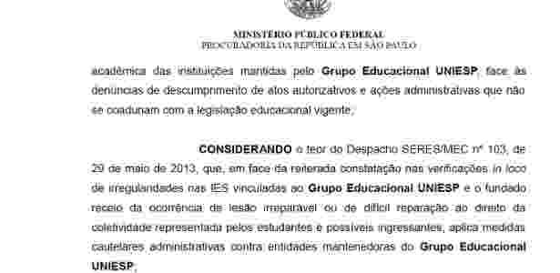 Ministério Público firmou acordo aplicando punições à Uniesp - Reprodução - Reprodução