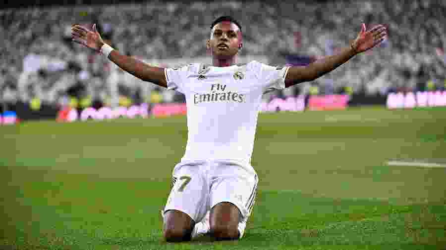 Rodrygo comemora gol do Real Madrid contra o Galatasaray - PIERRE-PHILIPPE MARCOU / AFP