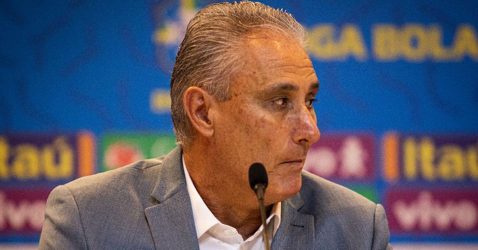 Tite, durante convocação da seleção brasileira