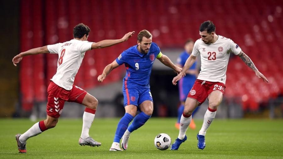 Harry Kane durante a partida entre Inglaterra e Dinamarca, pela Liga das Nações - PA Images via Getty Images