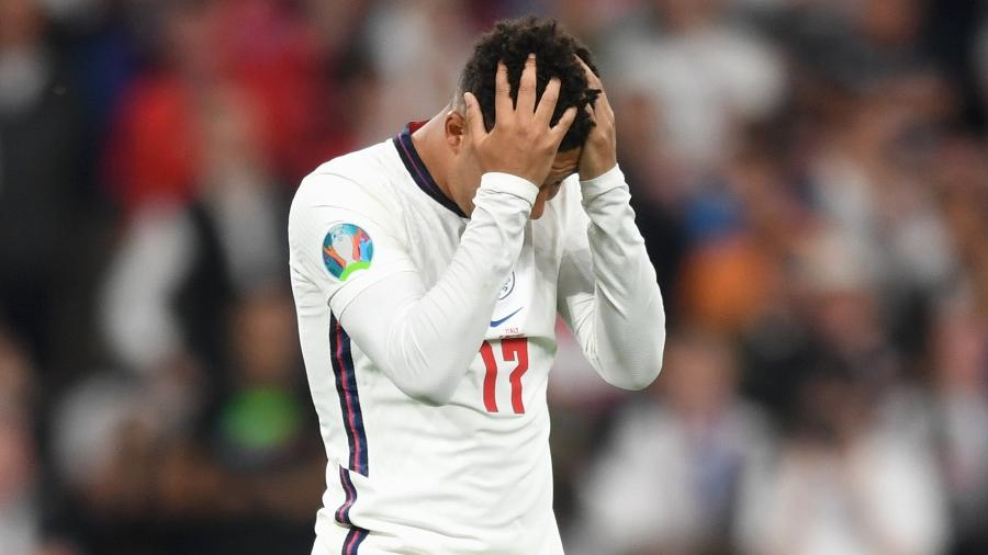 Jadon Sancho, que entrou só para bater o pênalti, desperdiçou sua cobrança - Michael Regan - UEFA/UEFA via Getty Images