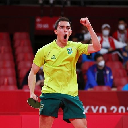Hugo Calderano em ação nas Olimpíadas de Tóquio - REUTERS/Luisa Gonzalez