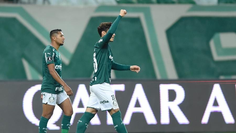 Raphael Veiga comemora gol do Palmeiras contra o São Paulo - Staff Images / CONMEBOL