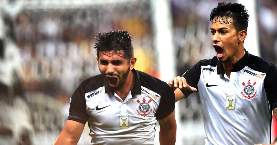Guilherme comemora gol pelo Corinthians contra o Santa Fe, na Libertadores