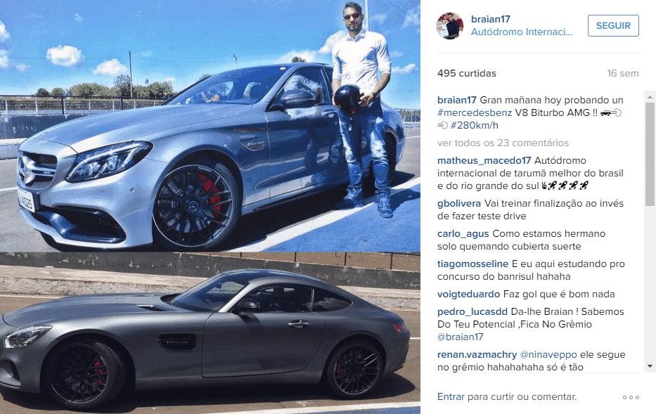 Braian Rodríguez curte tempo em Porto Alegre com carros e eventos - Reprodução/Instagram