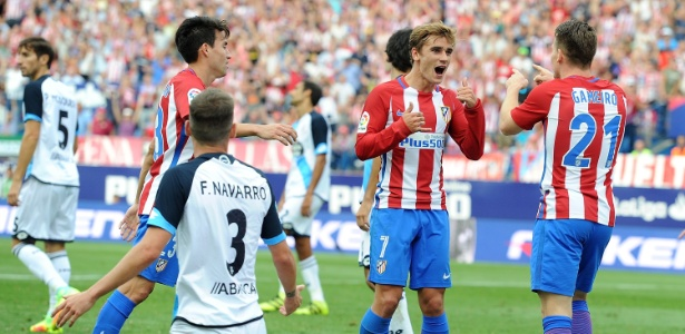 Griezmann comemora gol pelo Atlético de Madri