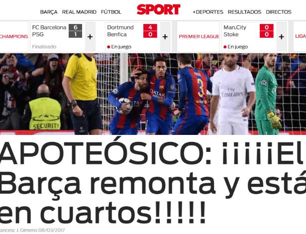 """Sport: """"Apoteose: Barça vira e está nas quartas de final"""""""