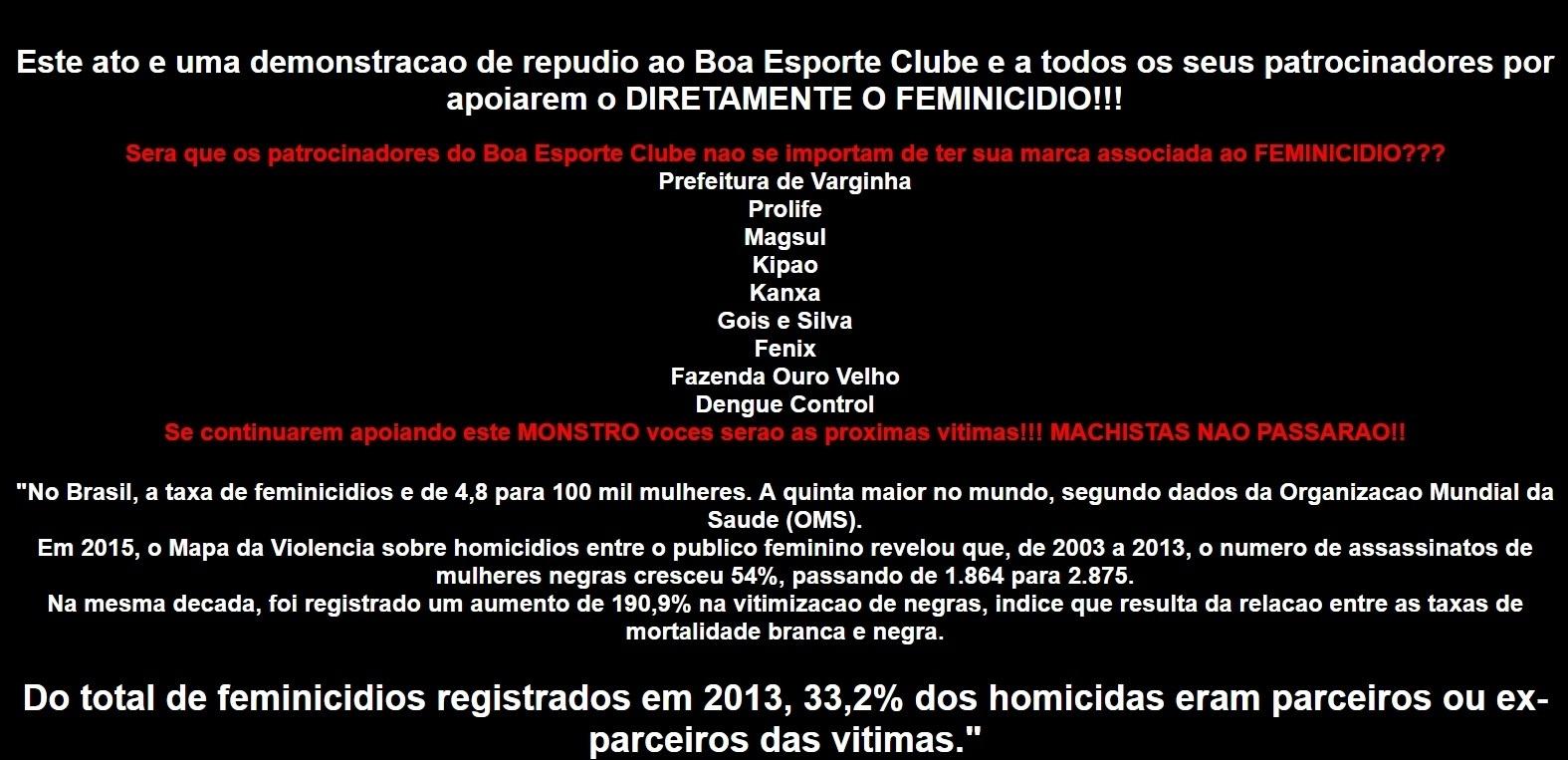 Site do Boa é invadido por hackers e exibe dados sobre feminicídio - Esporte  - BOL 73f4e02c131d1