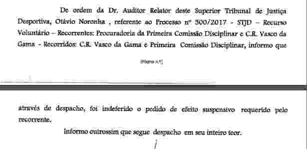 Vasco tem pedido de efeito suspensivo indeferido - Divulgação STJD - Divulgação STJD