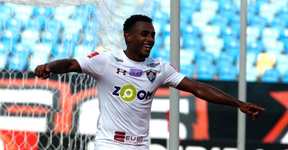 Wendel comemora gol do Fluminense contra o Atlético-GO 51ee3a911c645