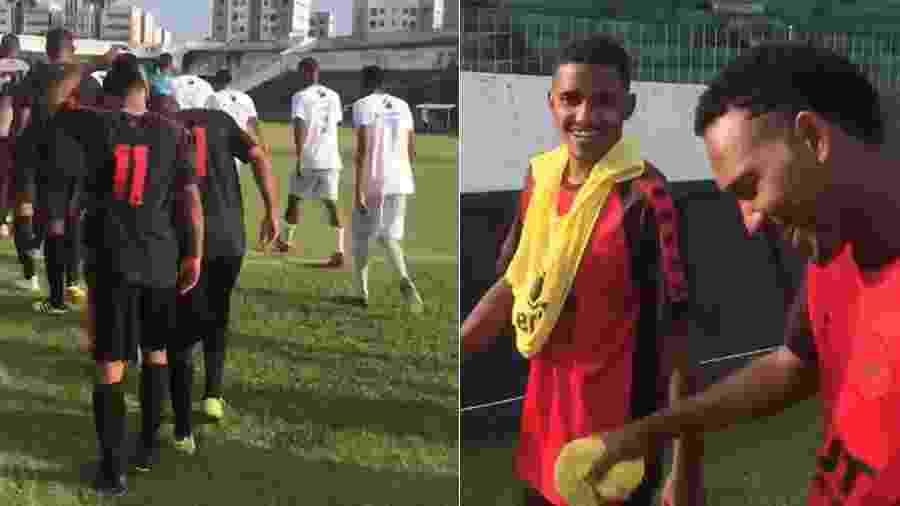 Jogadores do Íbis se divertem com hino da Champions League minutos antes do jogo - Reprodução