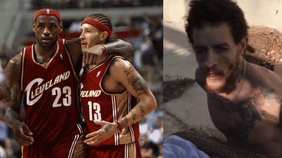 Delonte West nos tempos de Cleveland Cavaliers, ao lado de LeBron James, e hoje, em imagem que circula nas redes sociais após se envolver em uma briga - Reprodução