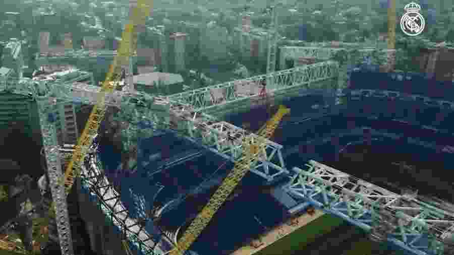 Imagem aérea das reformas no estádio Santiago Bernabéu, do Real Madrid - Reprodução