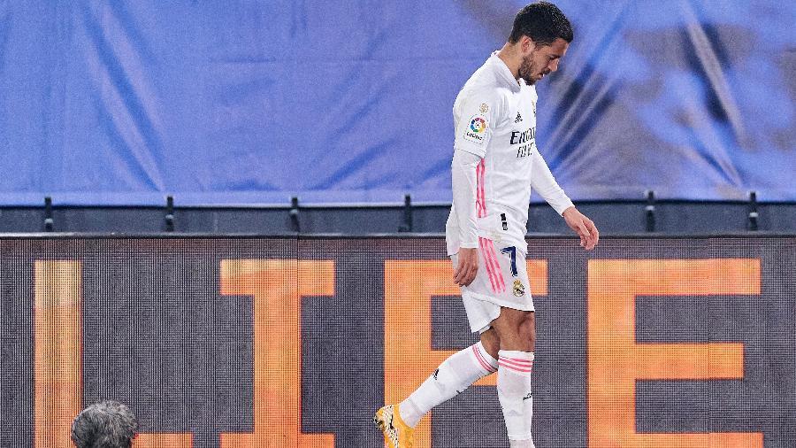 Eden Hazard, novamente machucado, é um símbolo do Real Madrid que acumula decepções - Diego Souto/Quality Sport Images/Getty Images
