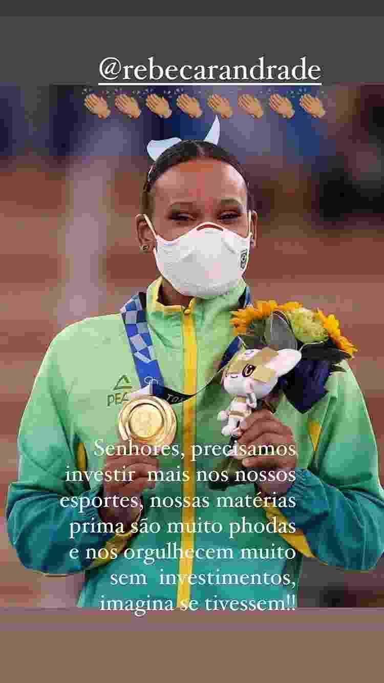 Dani Alves comemora ouro de Rebeca Andrade nas Olimpíadas de Tóquio - Instagram - Instagram