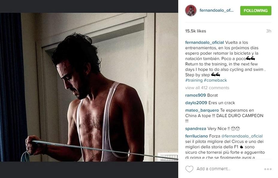 Fernando Alonso retoma treinamentos físicos após acidente na Austrália
