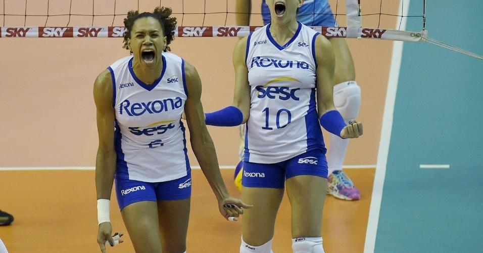 Juciely e Monique vibram após ponto do Rexona