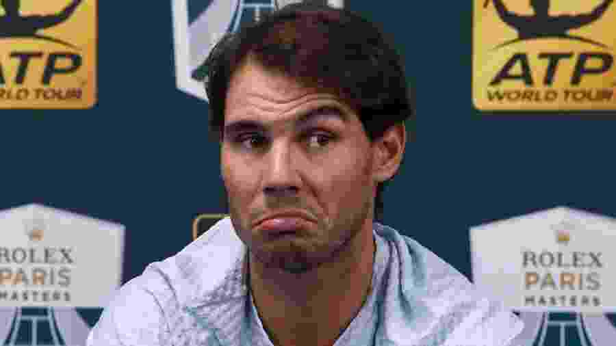 Rafael Nadal concede entrevista coletiva durante o Masters 1000 de Paris - Anne-Christine POUJOULAT / AFP