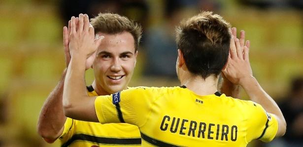 Jogadores do Dortmund comemoram gol contra o Monaco - REUTERS/Eric Gaillard