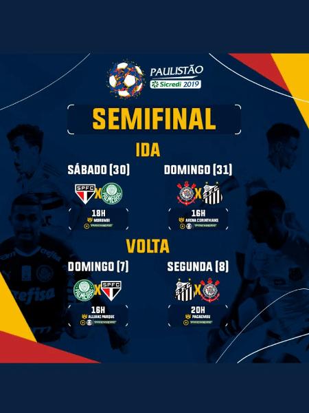 283273ee5dcc6 Datas e horários dos jogos da semifinal do Campeonato Paulista Imagem   Reprodução