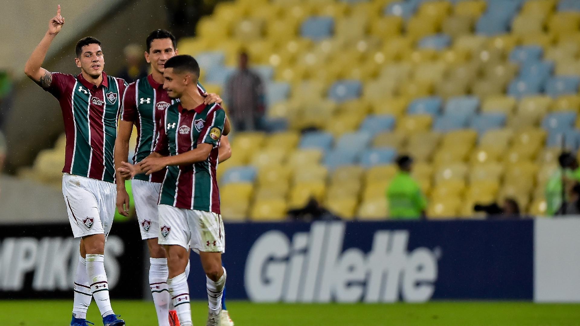 Nino, do Fluminense, comemora seu gol durante partida contra o Cruzeiro pelo Campeonato Brasileiro A 2019