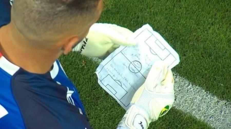 Weverton, goleiro do Palmeiras, lê papel durante a partida contra o Corinthians - Reprodução/TvGlobo